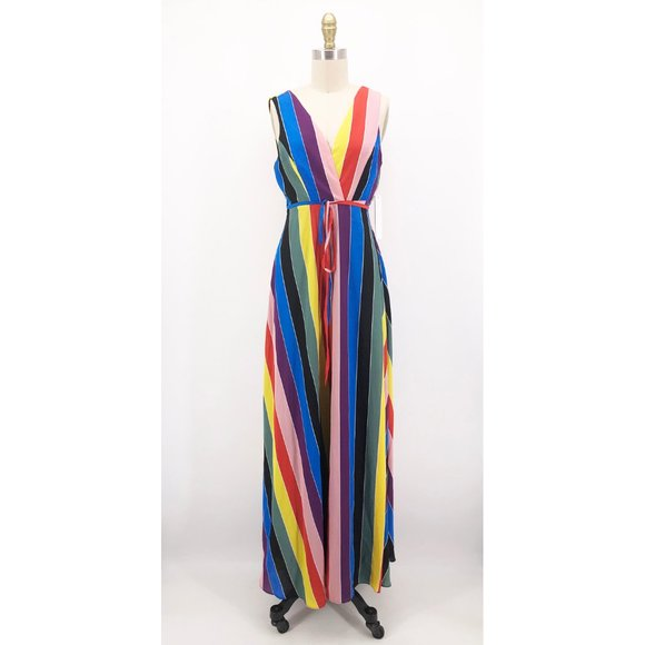 Aqua Dresses & Skirts - AQUA Luxe Dress Rainbow Stripe Maxi Wrap Gown